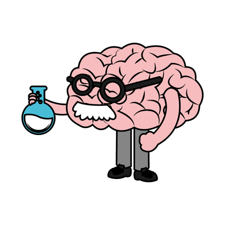 Brain with flask icon. Science laboratory chemistry and research theme. Isolated design. Vector illustration