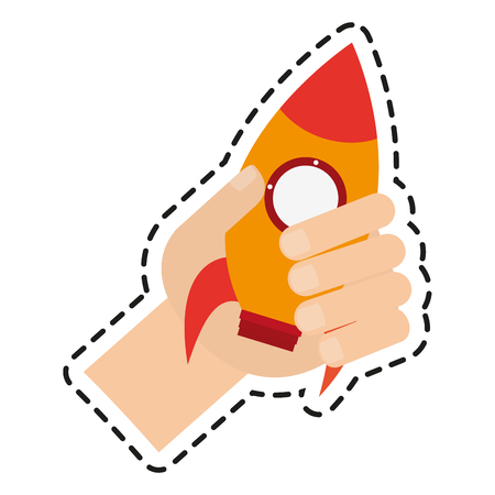 Rocket toy icon. Childhood play game and object theme. Isolated design. Vector illustration