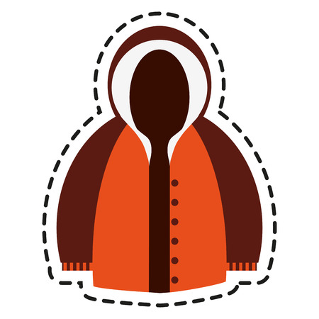 warm cloth: Jacket icon. Winter cloth fashion clothing and warm theme. Isolated design. Vector illustration
