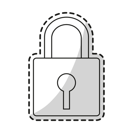 warning system: Padlock icon. Security system warning protection and danger theme. Isolated design. Vector illustration