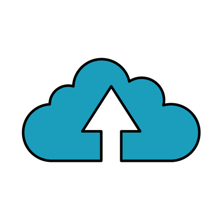 Cloud computing icon. Storage technology virtual and network theme. Isolated design. Vector illustration