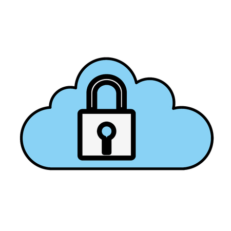 Padlock and cloud icon. Security system warning protection and danger theme. Isolated design. Vector illustration Illustration