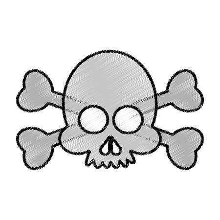 Skull cartoon icon. Head death horror tattoo and dark heme. Isolated design. Vector illustration Illustration