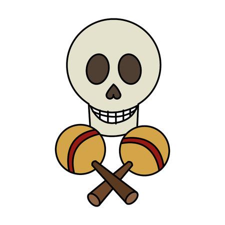 maraca: skull and maraca icon. Mexican culture landmark and latin theme. Isolated design. Vector illustration Illustration