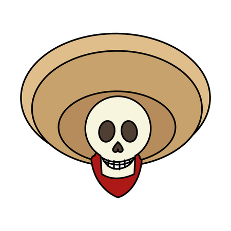 male skull with hat icon. Mexican culture landmark and latin theme. Isolated design. Vector illustration Illustration