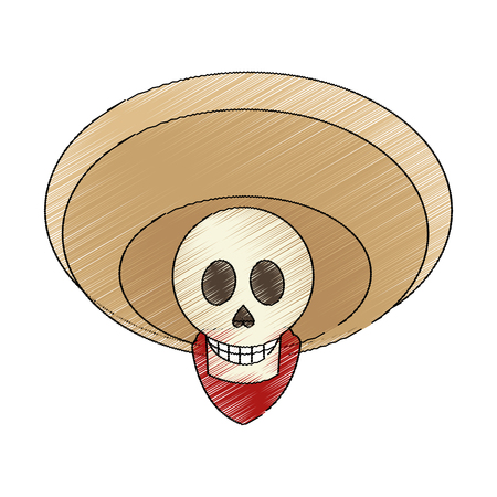 historic: male skull with hat icon. Mexican culture landmark and latin theme. Isolated design. Vector illustration Illustration