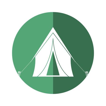 tent equipment camping activities green circle shadow vector illstration eps 10 Illustration