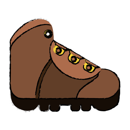 drawing boot equipment adventure camping vector illustration eps 10