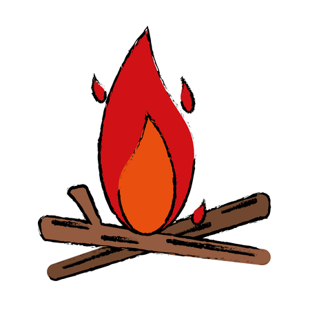 drawing bonfire wood camping design vector illustration Illustration