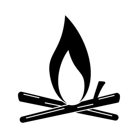 silhouette bonfire wood camping design vector illustration 向量圖像
