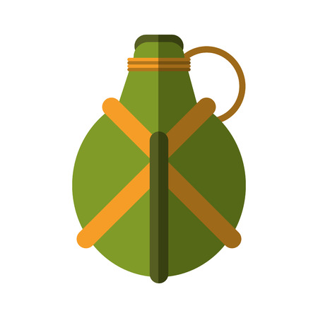 plastic soldier: water green cateen equipment camping vector illustration eps 10
