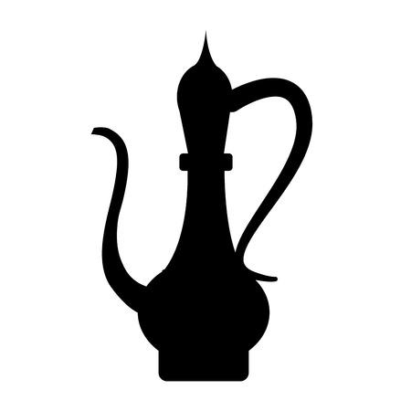 east espresso: antique oriental carved jug icon vector illustration graphic design