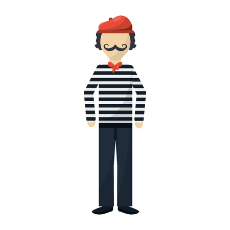 frenchman: frenchman character cartoon icon vector illustration graphic design