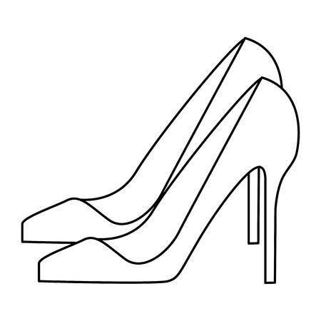 nude outdoors: woman black heel icon vector illustration graphic design Illustration