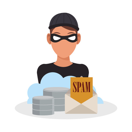 Hacker and cloud computing icon. Security system warning protection and danger theme. Colorful design. Vector illustration