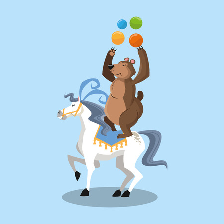 the performer: Horse and bear icon. Circus carnival fair fun and show theme. Colorful design. Vector illustration