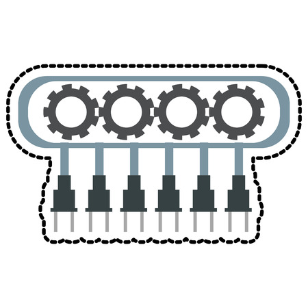 cybernetics: Robot with gears icon. Robotic technology machine cyborg and science theme. Isolated design. Vector illustration