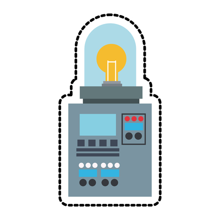 cybernetics: Robot with light bulb icon. Robotic technology machine cyborg and science theme. Isolated design. Vector illustration Illustration