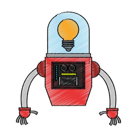 icono de dibujos animados de robots. La tecnología robótica cyborg máquina y el tema de la ciencia. diseño aislado. ilustración vectorial