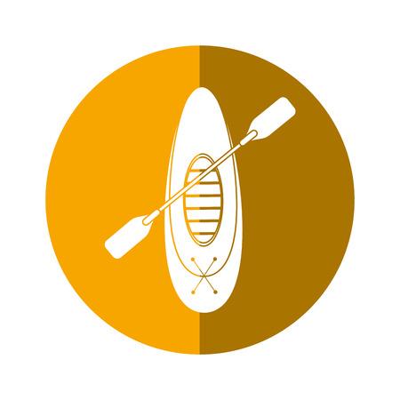 kayaking board oar recreation camping button shadow vector illustration eps 10