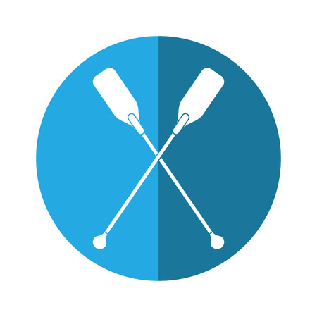 paddles crossed boat tool button shadow vector illustration eps 10