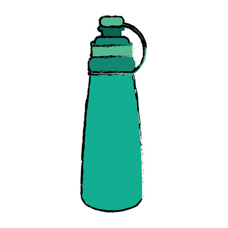 self sealing: drawing green bottle water hydration fitness gym vector illustration eps 10 Illustration