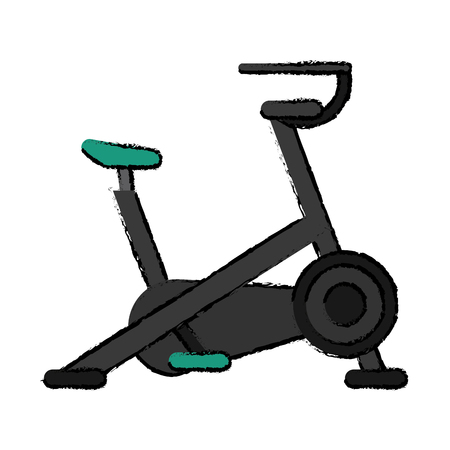 stationary bicycle: drawing stationary bicycle machine gym sport vector illustration eps 10 Illustration