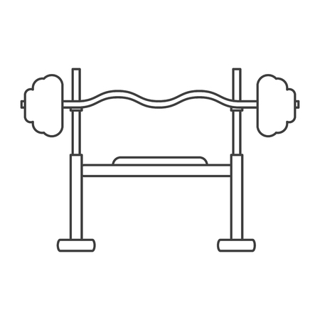 squat: outline brench press exercise gym design vector illustration eps 10 Illustration
