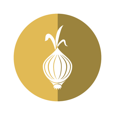 a sprig: onion vegetable nutrition sprout icon beige circle vector illustration