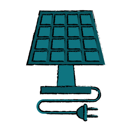 clean energy: drawing solar panel plug energy ecological clean vector illustration Illustration