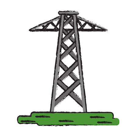 electrical tower: drawing electrical tower transmission energy power vector illustration