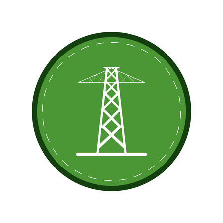 electrical tower: electrical tower transmission energy power green circle vector illustration eps 10