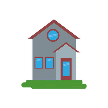 in the suburbs: family house facade residential design vector illustration eps 10