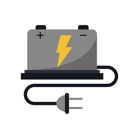 car battery high voltage mechanic cable vector illustration eps 10
