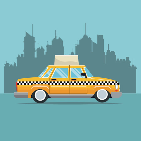 old new york: taxi car new york side view town background vector illustration eps 10