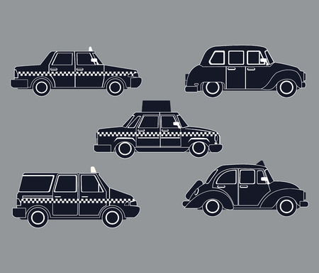 car side view: silhouette set taxi car side view vector illustration eps 10