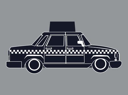 rikscha: Silhouette Taxi Auto mit Vektor-Illustration Werbung Seitenansicht eps 10