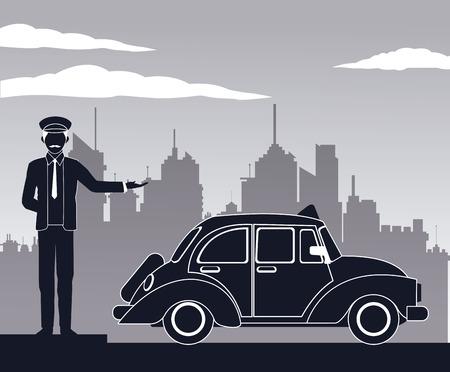 antique cab car driver service public pictograh vector illustration eps 10 Vector Illustration