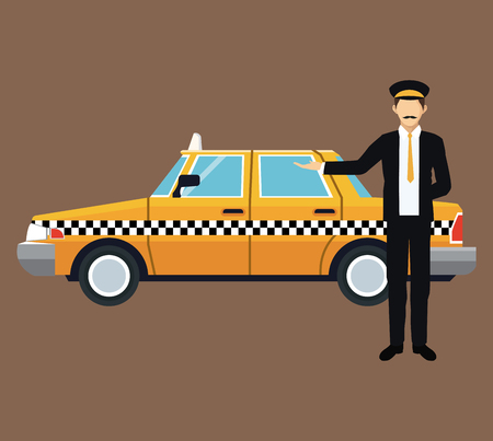 car driver: cab car driver work service public vector illustration eps 10
