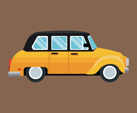 old new york: old taxi car side view brown background vector illustration eps 10 Illustration