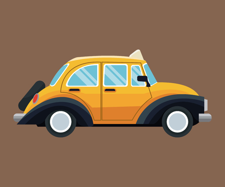 antique taxi car side view brown background vector illustration eps 10