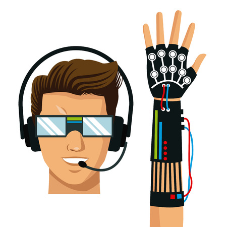 wired: man wear vr reality glasses wired glove fiction vector illustration eps 10