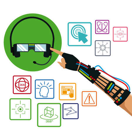 intertainment: hand using wired glove headset vr technology items vector illustration eps 10 Illustration