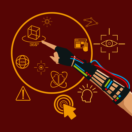 engrossed: hand using wired glove vr technologies for gaming vector illustration eps 10 Illustration