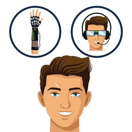 head gamer think glasses and wired glove virtual technology vctor illustration eps 10 Illustration