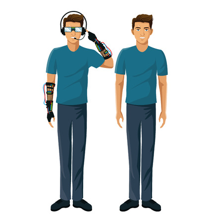 men gamers vr reality glasses wired glove interface fiction vector illustration eps 10 Illustration