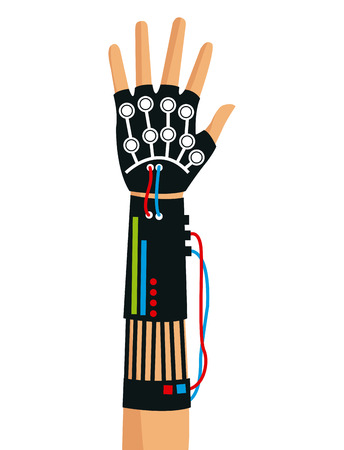 wired: hand using wired glove device vr technology vector illustration eps 10 Illustration