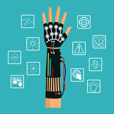 wired: hand using wired glove vr cyber technology vector illustration eps 10 Illustration