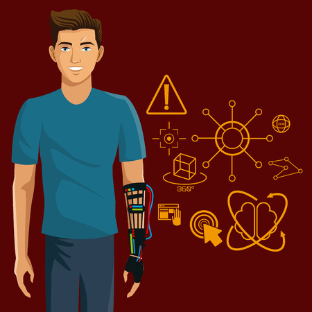 engrossed: gamer using wired glove with virtual reality design vector illustration eps 10