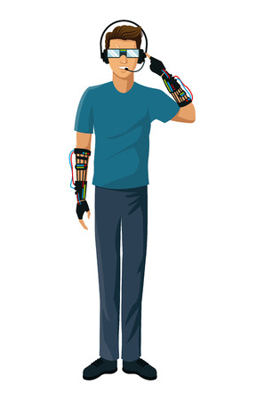 excitement: man vr experiencing reality glasses wired glove interface fiction vector illustration eps 10 Illustration